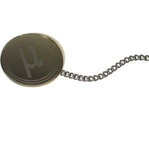 Gold Toned Etched Oval Greek Letter Mu Tie Tack